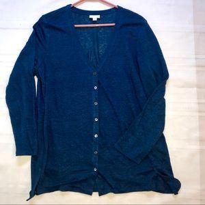 L J Jill  Linen Blend Button Cardigan Sweater euc